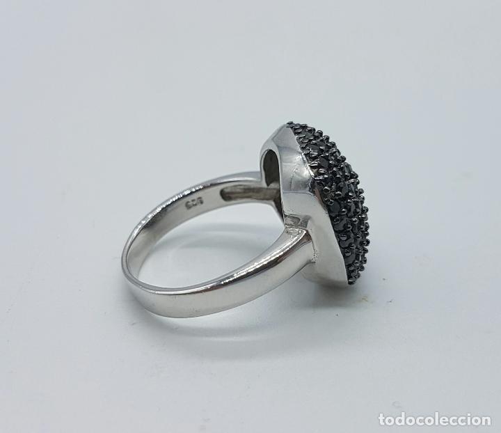 Joyeria: Magnífico anillo vintage en plata de ley 925 con pavé de circonitas negras talla brillante . - Foto 4 - 68266817