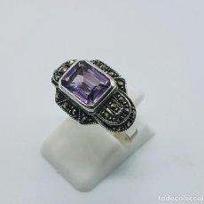 Jewelry - Anillo antiguo de estilo modernista en plata de ley con marquesitas y amatista talla radiant . - 68271681