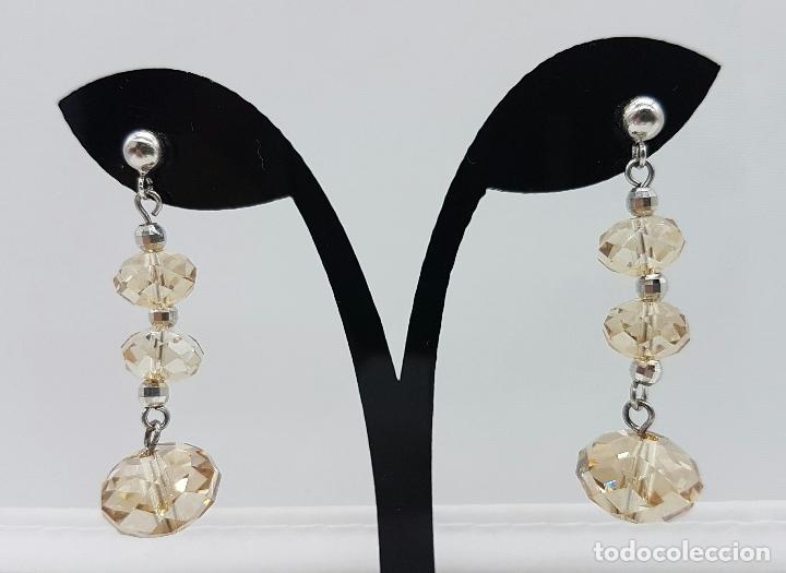 Joyeria: Bellos pendientes vintage en plata de ley contrastada y cristal austriaco color champagne facetado . - Foto 2 - 68303857