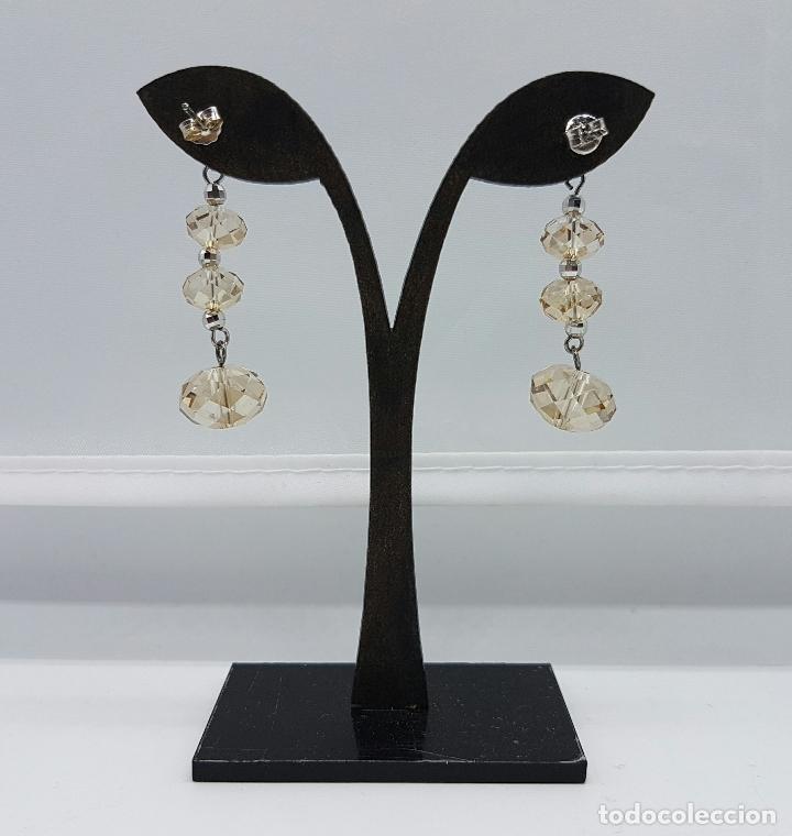 Joyeria: Bellos pendientes vintage en plata de ley contrastada y cristal austriaco color champagne facetado . - Foto 3 - 68303857