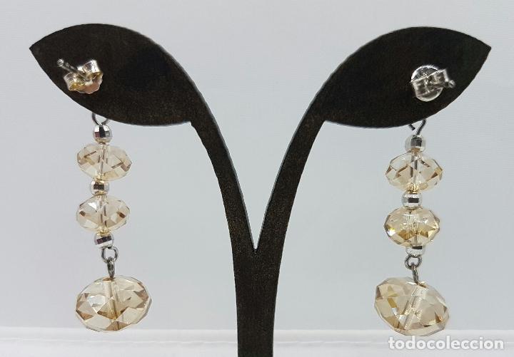 Joyeria: Bellos pendientes vintage en plata de ley contrastada y cristal austriaco color champagne facetado . - Foto 4 - 68303857