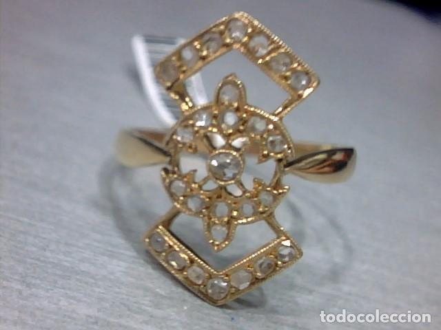 Joyeria: anillo lanzadera oro 18 kl y diamantes talla rosa - Foto 2 - 69341529