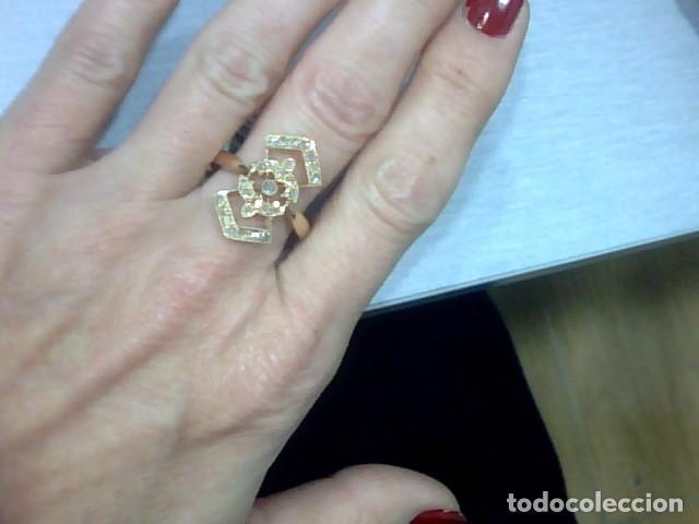 Joyeria: anillo lanzadera oro 18 kl y diamantes talla rosa - Foto 3 - 69341529
