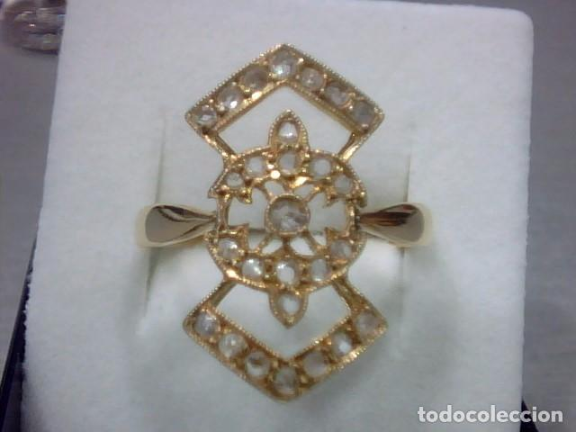 Joyeria: anillo lanzadera oro 18 kl y diamantes talla rosa - Foto 4 - 69341529