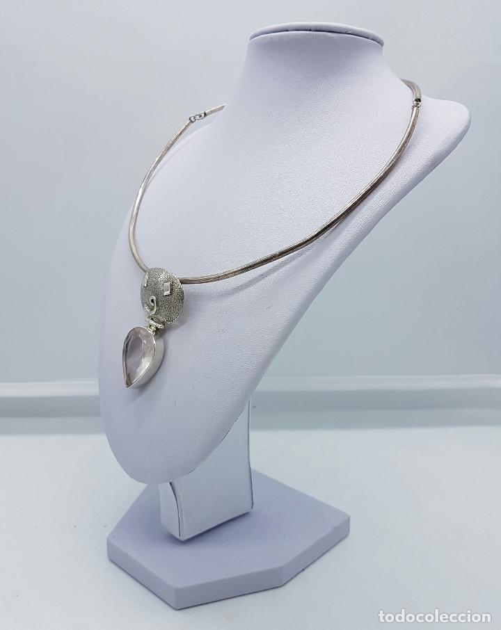 Joyeria: Bella y original gargantilla vintage en plata de ley contrastada con cuarzo facetado talla pera . - Foto 2 - 69647869
