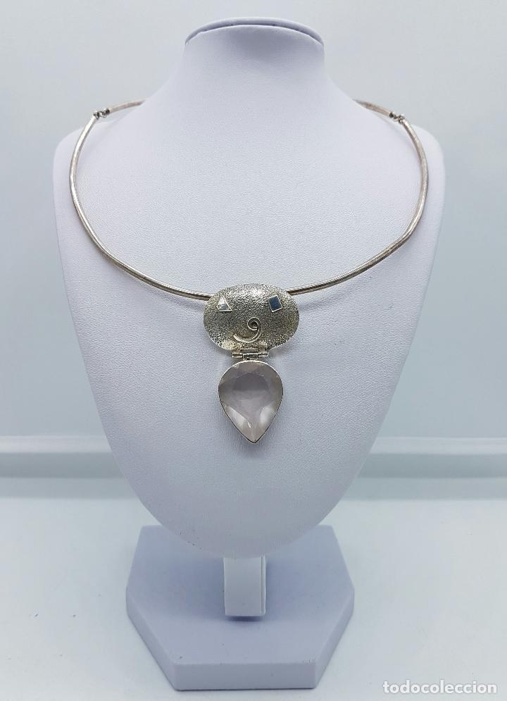 Joyeria: Bella y original gargantilla vintage en plata de ley contrastada con cuarzo facetado talla pera . - Foto 3 - 69647869