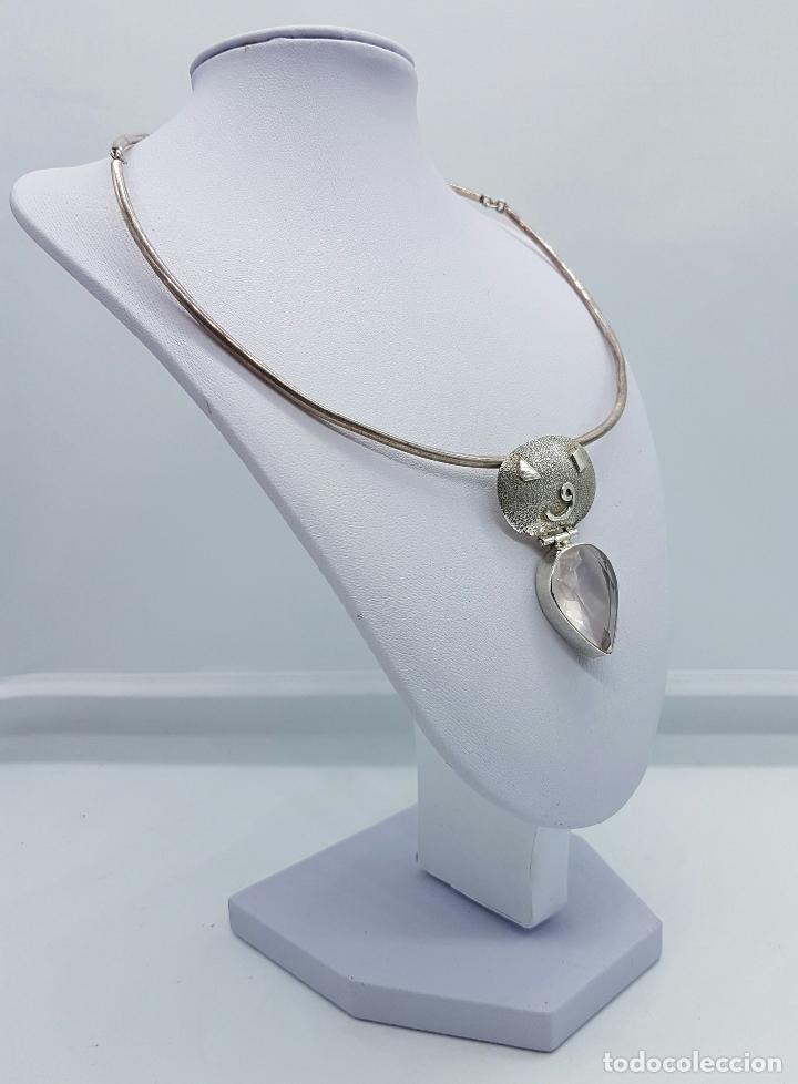 Joyeria: Bella y original gargantilla vintage en plata de ley contrastada con cuarzo facetado talla pera . - Foto 4 - 69647869