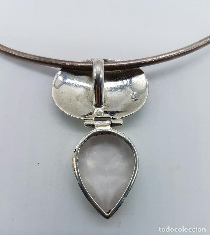 Joyeria: Bella y original gargantilla vintage en plata de ley contrastada con cuarzo facetado talla pera . - Foto 6 - 69647869