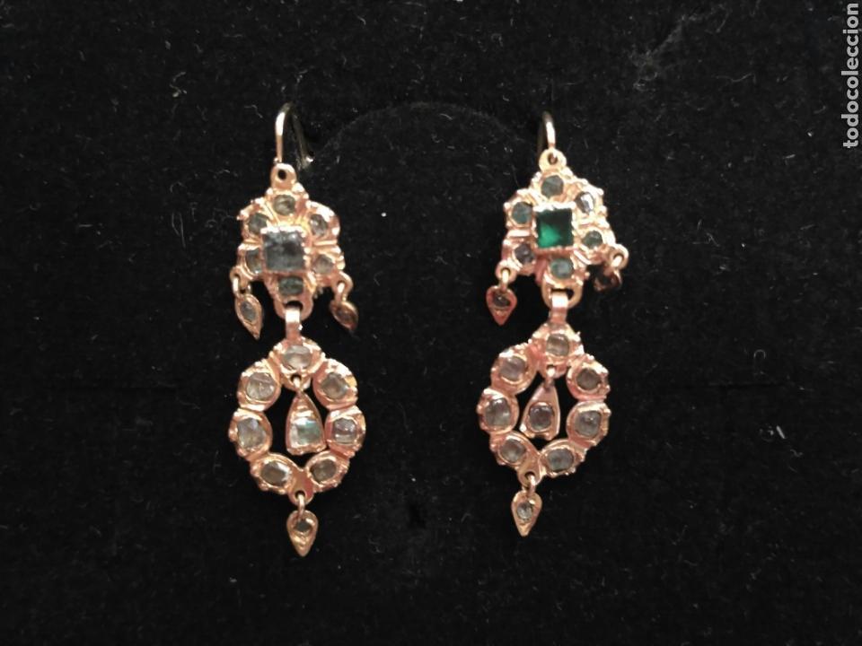 Joyeria: Juego oro 14K y esmeraldas del siglo XIX, anillo, pendientes del siglo XIX - Foto 2 - 64661967