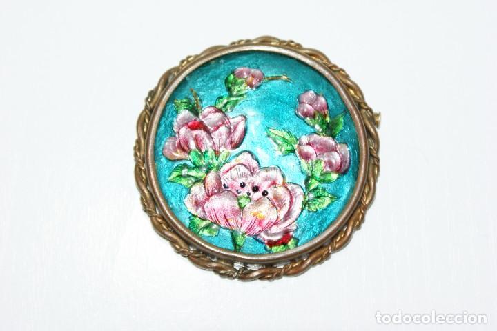Joyeria: Antiguo broche Frances Esmaltado motivos Florales LIMOGES - Foto 2 - 70373289