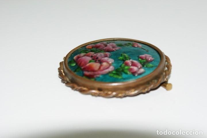 Joyeria: Antiguo broche Frances Esmaltado motivos Florales LIMOGES - Foto 4 - 70373289