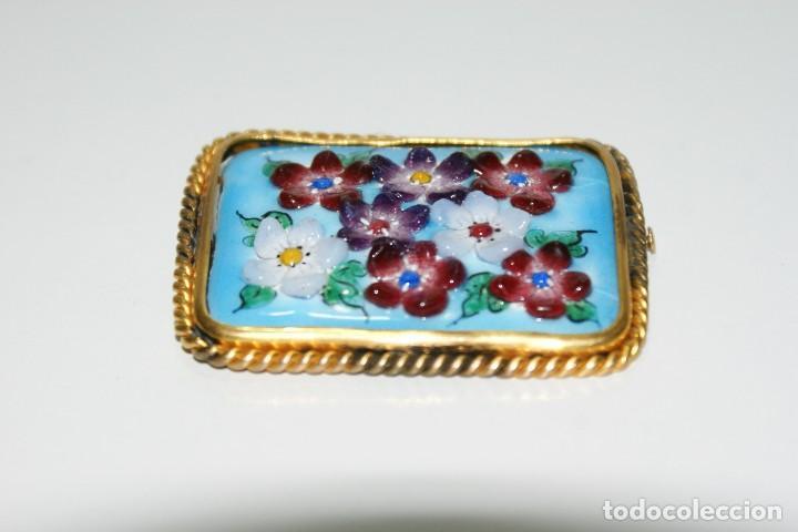 Joyeria: Antiguo broche Frances Esmaltado motivos Florales - Foto 2 - 70373517