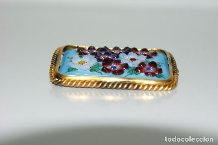 Joyeria: Antiguo broche Frances Esmaltado motivos Florales - Foto 3 - 70373517