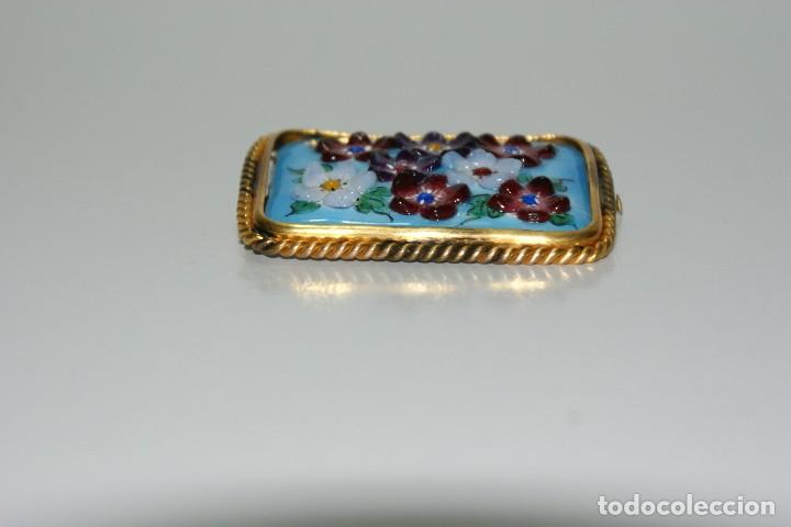 Joyeria: Antiguo broche Frances Esmaltado motivos Florales - Foto 4 - 70373517