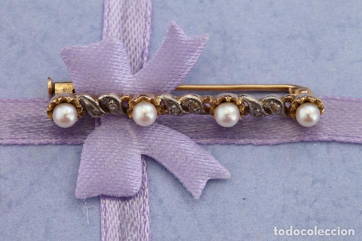 Joyeria: Broche de oro de 18 Kt con diamantes y perlas. - Foto 5 - 69727785