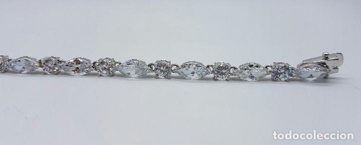 Joyeria: Magnífica pulsera en plata de ley contrastada con circonitas talla diamante y marques engarzadas . - Foto 4 - 71034125