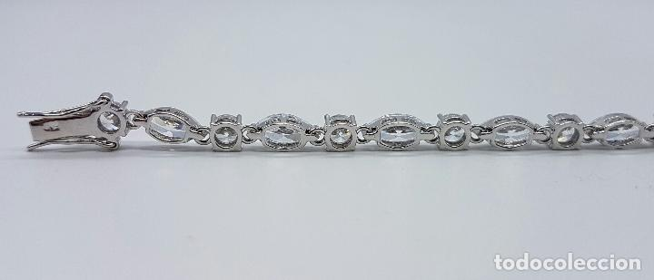 Joyeria: Magnífica pulsera en plata de ley contrastada con circonitas talla diamante y marques engarzadas . - Foto 5 - 71034125