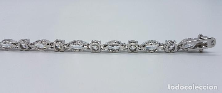 Joyeria: Magnífica pulsera en plata de ley contrastada con circonitas talla diamante y marques engarzadas . - Foto 6 - 71034125