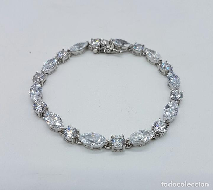 Joyeria: Magnífica pulsera en plata de ley contrastada con circonitas talla diamante y marques engarzadas . - Foto 7 - 71034125