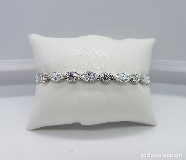 Joyeria: Magnífica pulsera en plata de ley contrastada con circonitas talla diamante y marques engarzadas . - Foto 8 - 71034125