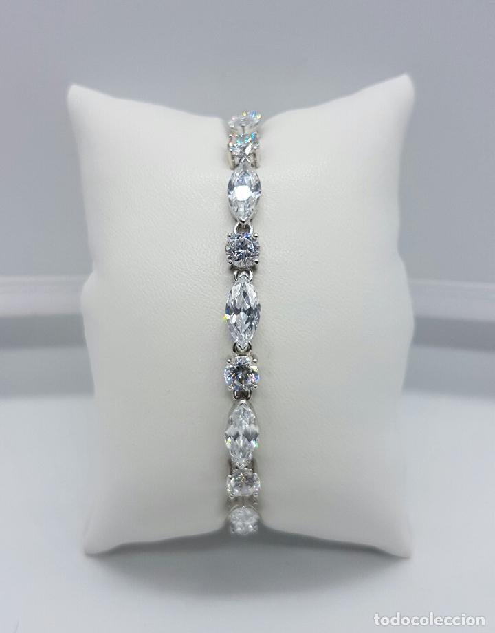 Joyeria: Magnífica pulsera en plata de ley contrastada con circonitas talla diamante y marques engarzadas . - Foto 9 - 71034125