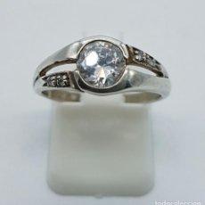 Jewelry - Anillo antiguo tipo solitario en plata de ley contrastada con circonitas talla diamante . - 71618307