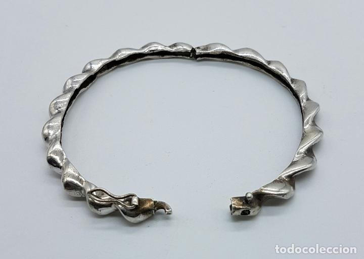 Joyeria: Brazalete antiguo en plata de ley torneada tipo caña . - Foto 5 - 71622271