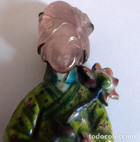Joyeria: Broche realizado en cuarzo rosa y esmalte - Foto 3 - 71934923