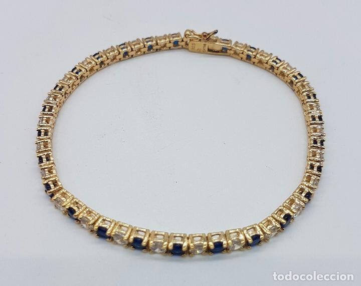 Joyeria: Magnífica pulsera en plata de ley contrastada, chapada en oro de 18k, con circonitas y zafiros . - Foto 2 - 168344772