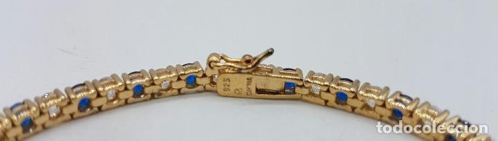Joyeria: Magnífica pulsera en plata de ley contrastada, chapada en oro de 18k, con circonitas y zafiros . - Foto 3 - 168344772