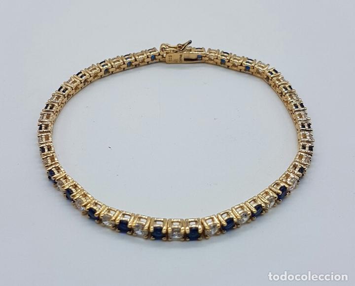 Joyeria: Magnífica pulsera en plata de ley contrastada, chapada en oro de 18k, con circonitas y zafiros . - Foto 4 - 168344772