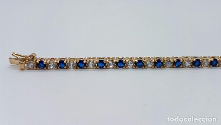 Joyeria: Magnífica pulsera en plata de ley contrastada, chapada en oro de 18k, con circonitas y zafiros . - Foto 5 - 168344772