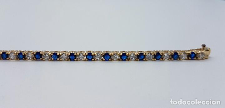 Joyeria: Magnífica pulsera en plata de ley contrastada, chapada en oro de 18k, con circonitas y zafiros . - Foto 6 - 168344772