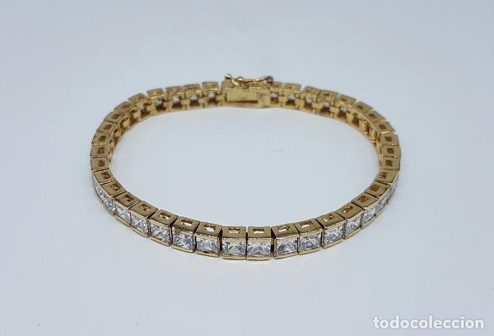 Joyeria: Pulsera antigua en plata de ley contrastada chapada en oro de 18k y circonitas talla princesa . - Foto 2 - 130472519