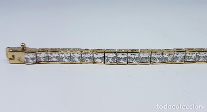Joyeria: Pulsera antigua en plata de ley contrastada chapada en oro de 18k y circonitas talla princesa . - Foto 3 - 130472519