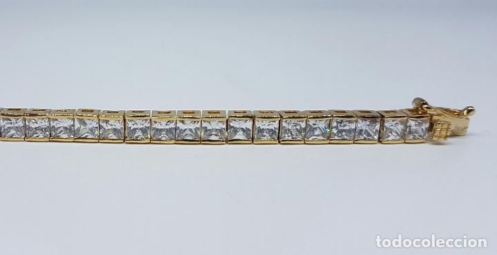 Joyeria: Pulsera antigua en plata de ley contrastada chapada en oro de 18k y circonitas talla princesa . - Foto 4 - 130472519