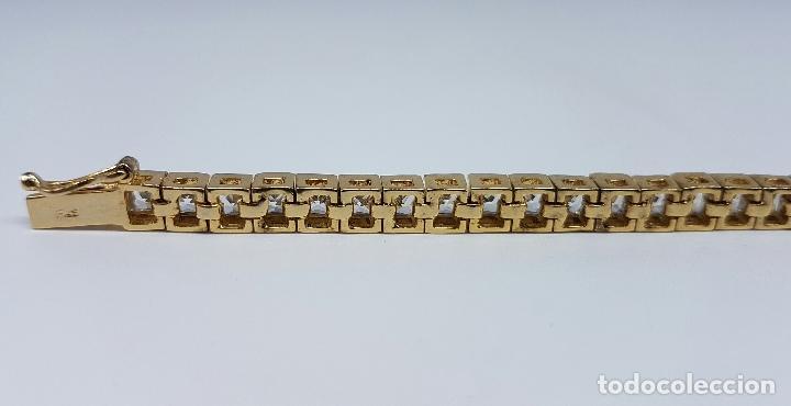 Joyeria: Pulsera antigua en plata de ley contrastada chapada en oro de 18k y circonitas talla princesa . - Foto 5 - 130472519