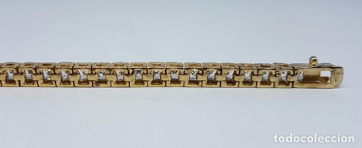 Joyeria: Pulsera antigua en plata de ley contrastada chapada en oro de 18k y circonitas talla princesa . - Foto 6 - 130472519