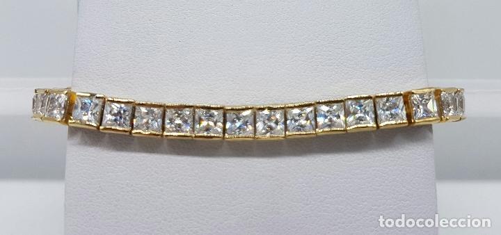 Joyeria: Pulsera antigua en plata de ley contrastada chapada en oro de 18k y circonitas talla princesa . - Foto 7 - 130472519
