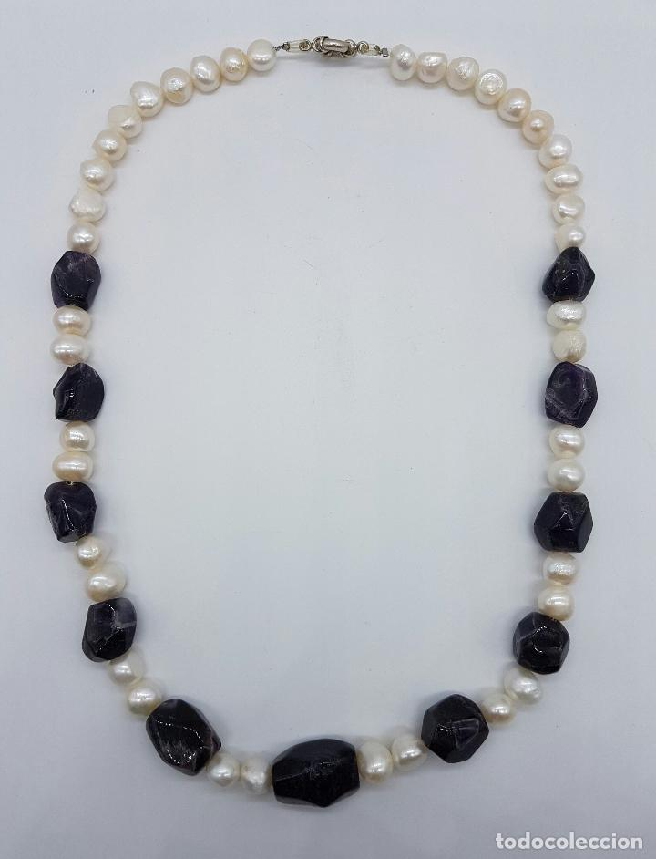 Joyeria: Gran collar antiguo de perlas barrocas cultivadas y cuentas de amatistas naturales . - Foto 3 - 73008407