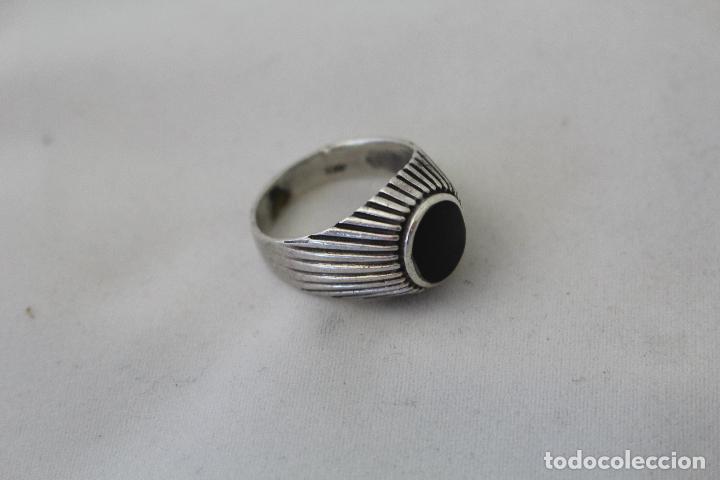 Joyeria: anillo antiguo en plata de ley con azabache - Foto 3 - 84783070