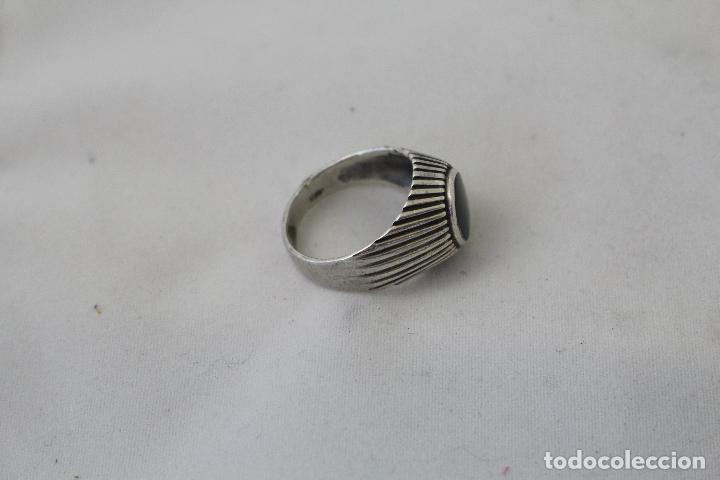Joyeria: anillo antiguo en plata de ley con azabache - Foto 4 - 84783070