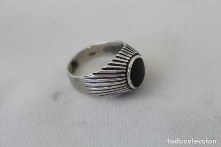 Joyeria: anillo antiguo en plata de ley con azabache - Foto 7 - 84783070