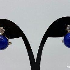 Joyeria - Pendientes antiguos en plata de ley con circonita y perla en símil de lapislazulí, cierre omega . - 73493071