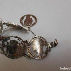 Joyeria: PULSERA HECHA CON MONEDAS PERFORADAS DE ALFONSO XII. 1871. Lote 73607855