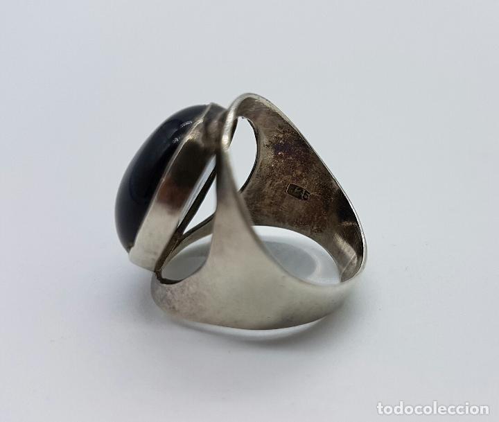 Joyeria: Magnífico anillo antiguo en plata de ley con gran cabujón de azabache autentico . - Foto 4 - 74197391