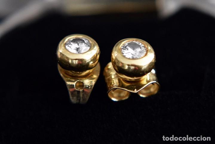 Joyeria: LIQUIDACIÓN, pendientes Dormilonas de diamantes 0,20ct VS-H en oro amarillo 18K - Foto 2 - 74361087