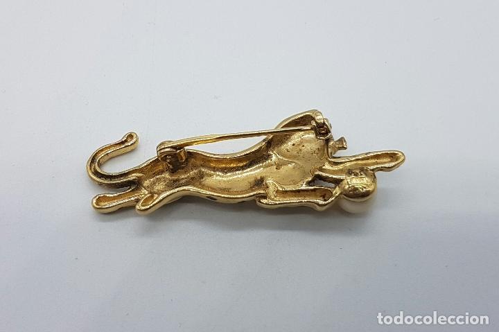 Joyeria: Broche antiguo en plata de ley con forma de leopardo, oro de 18k y perla, parcialmente esmaltado . - Foto 5 - 145548885