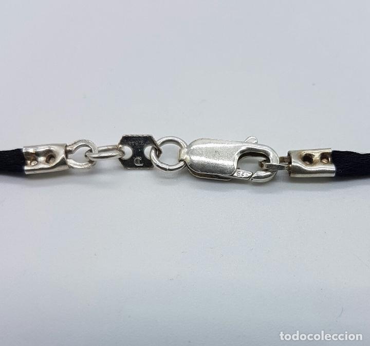Joyeria: Gargantilla en plata de ley contrastada de la firma JOID'ART diseño exclusivo, correa de seda . - Foto 4 - 128132054