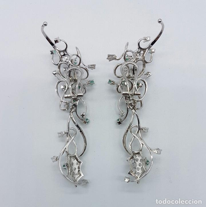 Joyeria: Impresionantes pendientes en plata de ley con acabado en oro blanco 18k, circonitas y esmeraldas . - Foto 4 - 75261231